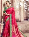 image of Wedding Function Wear Crimson Color Banarasi Silk Saree With Fancy Work