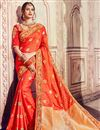 image of Orange Designer Festive Wear Saree With Embroidery Work In Banarasi Silk