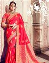 image of Traditional Wedding Wear Banarasi Silk Red Saree With Heavy Work