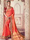image of Wedding Wear Salmon Color Banarasi Silk Traditional Saree With Work