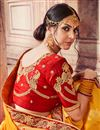 picture of Traditional Function Wear Mustard Banarasi Silk Embroidered Saree