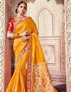 image of Traditional Function Wear Mustard Banarasi Silk Embroidered Saree