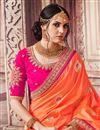 photo of Wedding Wear Salmon Color Banarasi Silk Traditional Saree With Work