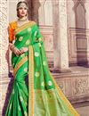 image of Wedding Function Wear Banarasi Silk Sea Green Saree With Fancy Work