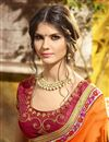 photo of Party Wear Georgette Orange Embroidered Saree With Lace Border