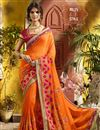 image of Party Wear Georgette Orange Embroidered Saree With Lace Border