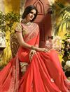 photo of Fancy Party Wear Embroidered Salmon Color Saree In Georgette With Lace Border