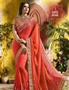 image of Fancy Party Wear Embroidered Salmon Color Saree In Georgette With Lace Border