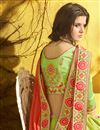 photo of Chiffon Fabric Embroidered Party Style Fancy Saree In Cream With Lace Border