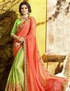 image of Chiffon Fabric Embroidered Party Style Fancy Saree In Cream With Lace Border