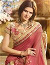 photo of Orange Embroidered Party Style Fancy Saree In Georgette With Lace Border