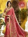 image of Orange Embroidered Party Style Fancy Saree In Georgette With Lace Border