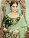 photo of Fancy Embroidered Saree In Chanderi Silk Fabric Sea Green With Lace Border