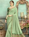 image of Fancy Embroidered Saree In Chanderi Silk Fabric Sea Green With Lace Border