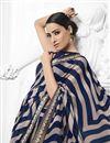 photo of Navy Blue Chiffon Fabric Festive Wear Fancy Printed Saree