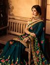 photo of Embroidered Work On Art Silk Fabric Teal Designer Saree Wth Captivating Blouse