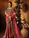 image of Art Silk Fabric Saree In Peach With Embroidery Work And Party Wear Blouse