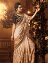 image of Chikoo Art Silk Fabric Saree With Embroidery Work And Beautiful Blouse