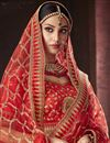 photo of Red Color Bridal Wear Embroidered Fancy Art Silk Fabric Lehenga Choli