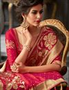 photo of Eid Special Function Wear Art Silk Red Embroidered Saree With Designer Blouse