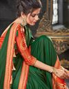 photo of Function Wear Embroidered Dark Green Art Silk Saree With Heavy Blouse