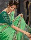 photo of Eid Special Green Function Wear Embroidered Art Silk Saree With Fancy Blouse