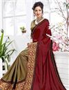 photo of Embroidery Work On Maroon Party Wear Saree In Art Silk Fabric With Beautiful Blouse