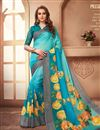 image of Casual Party Style Linen Fabric Cyan Digital Printed Saree