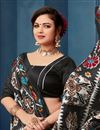 photo of Bhagalpuri Silk Fabric Printed Casual Wear Black Saree