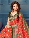 photo of Printed Red Office Wear Saree In Bhagalpuri Silk Fabric