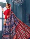 photo of Navy Blue Printed Casual Wear Bhagalpuri Silk Fabric Saree