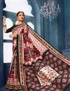 photo of Casual Style Bhagalpuri Silk Fabric Off White Printed Saree