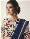 photo of Net Fabric Party Style Navy Blue Fancy Plain Saree With Chic Blouse
