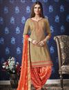 image of Fancy Festive Wear Cream Embroidered Cotton Patiala Suit