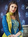photo of Fancy Cotton Festive Wear Embroidered Sky Blue Patiala Suit
