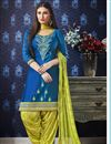 image of Fancy Cotton Festive Wear Embroidered Sky Blue Patiala Suit