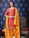 image of Cotton Festive Wear Embroidered Fancy Peach Patiala Dress