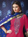 photo of Fancy Festive Wear Rani Color Embroidered Cotton Patiala Suit