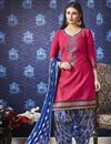 image of Fancy Festive Wear Rani Color Embroidered Cotton Patiala Suit
