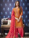 image of Cotton Festive Wear Fancy Embroidered Patiala Dress In Orange