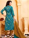 photo of Party Wear Sky Blue Color Cotton Salwar Kameez With Print Designs