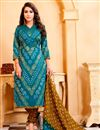 image of Party Wear Sky Blue Color Cotton Salwar Kameez With Print Designs