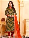 image of Designer Cotton Green Color Printed Festive Wear Salwar Kameez