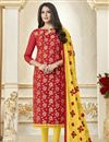 image of Designer Red Color Banarasi Function Wear Salwar Suit