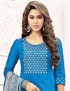 photo of Designer Blue Color Art Silk Casual Wear Salwar Kameez With Embroidery