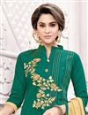 photo of Temple Wear Art Silk Salwar Suit In Green Color With Embroidery