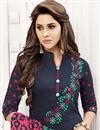 photo of Stylish Embroidery On Casual Wear Navy Blue Color Designer Art Silk Salwar Suit