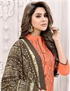 photo of Stylish Embroidery On Casual Wear Orange Color Designer Art Silk Salwar Suit