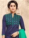 photo of Designer Navy Blue Color Fancy Fabric Casual Wear Salwar Kameez With Embroidery