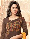 photo of Designer Brown Color Fancy Fabric Casual Wear Salwar Kameez With Embroidery